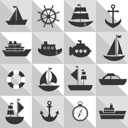 sea transport: grey and white background with sea transport Illustration