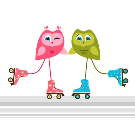 little skate: Owls on roller skates