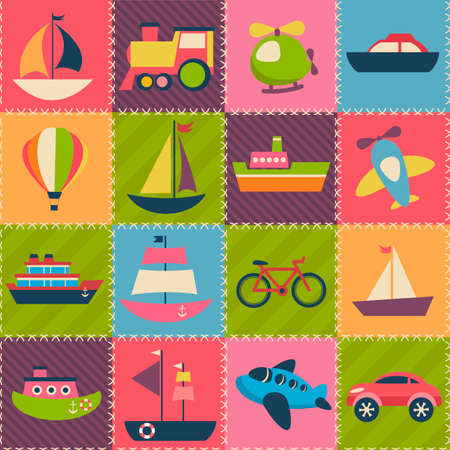 patchwork: Patchwork background with transport