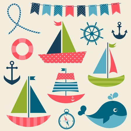 sea transport: Colorful sea transport set
