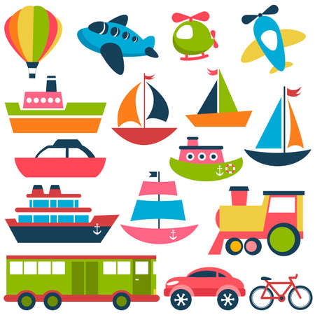 lifeboat: Colorful transport icons collection Illustration