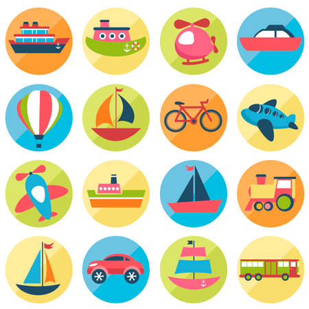 lifeboat: Colorful transport icons set Illustration