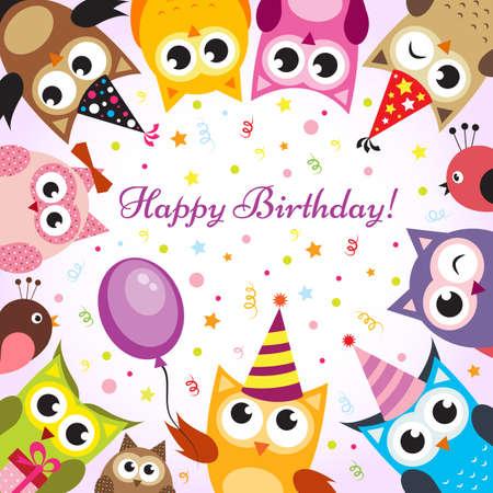 persona feliz: Tarjeta de cumpleaños con los búhos Vectores
