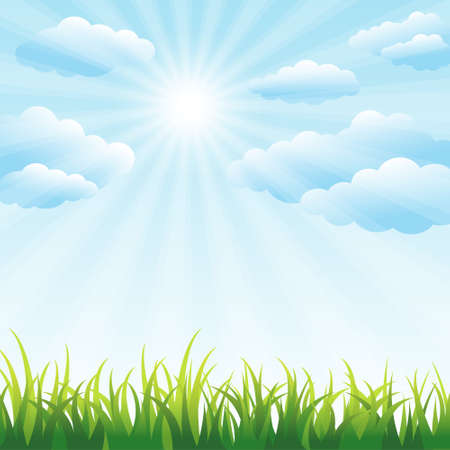 grass field: Green grass field and blue sky Illustration