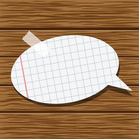 glued: Paper speech bubble and wood background Illustration
