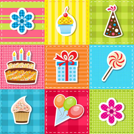 birthday cakes: patchwork with birthday party elements