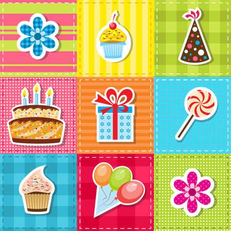 tortas de cumpleaños: remiendo con elementos de la fiesta de cumpleaños