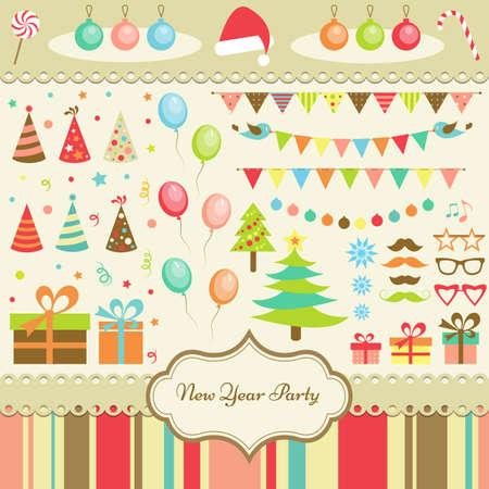 marco cumpleaños: Conjunto de elementos de parte de Año Nuevo Vectores