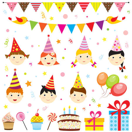 birthday party kids: Set of birthday party elements with cute kids Illustration