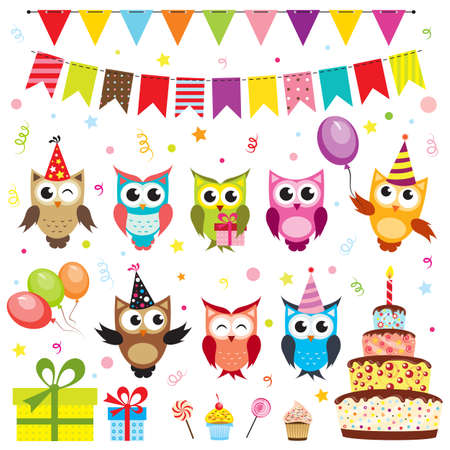 birthday cupcakes: Set of birthday party elements with owls
