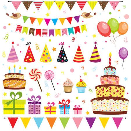 gateau anniversaire: Ensemble d'éléments de fête d'anniversaire Illustration