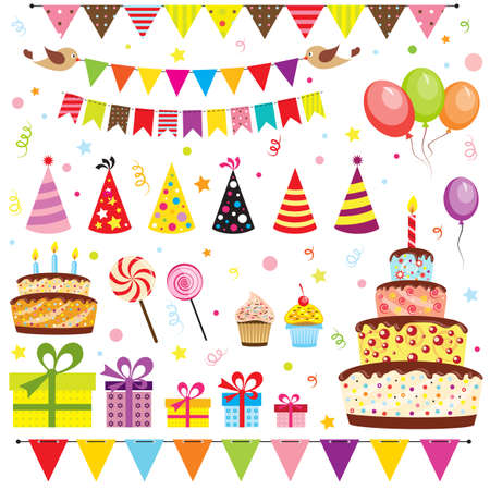 birthday card: Set of birthday party elements