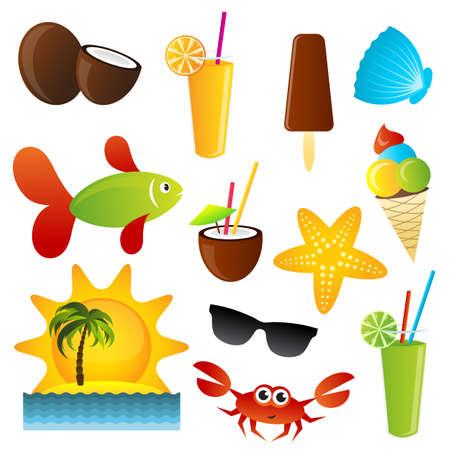 green crab: summer icons set