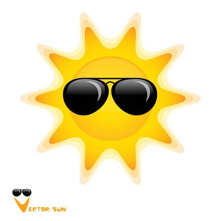 sun glasses: sun with black glasses art illustration