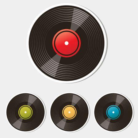 hi fi: set of vinyl records isolated on white Illustration