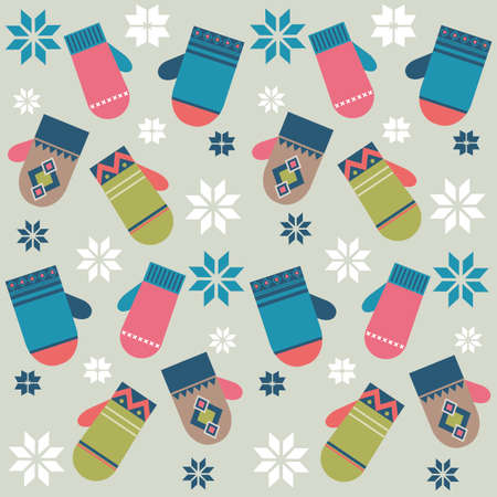 mittens: Background with colorful mittens Illustration
