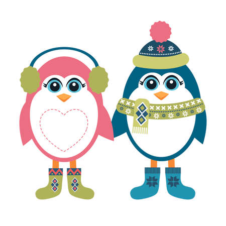 two: Two penguins in winter