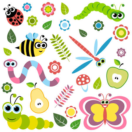 warble: Background with cartoon insects, flowers, leaves, apple and pear