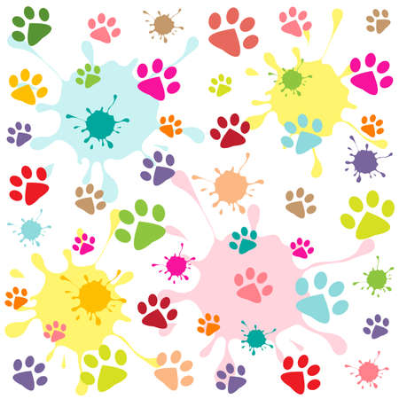 colored pattern with paw prints and blots Stock Illustratie