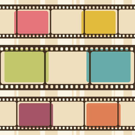 movie camera: Retro background with film strips Illustration