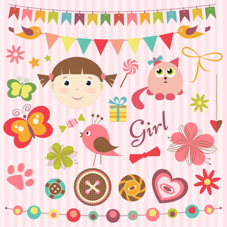 baby girl: Scrapbook baby girl set