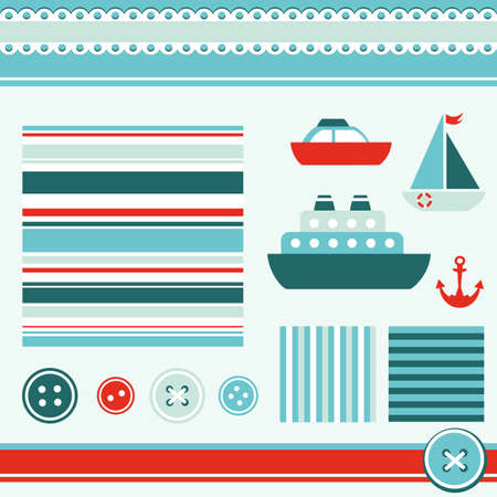 lifeboat: sea theme elements for scrapbooking