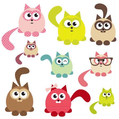 cat's eye glasses: Set of cute cats