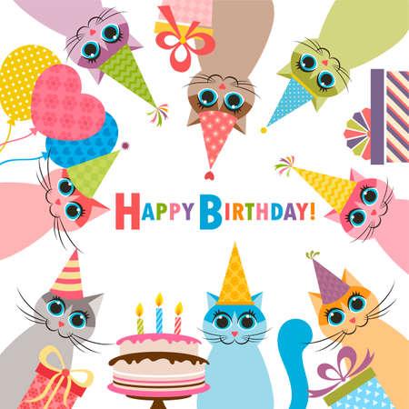 Carte d'anniversaire avec les chats drôles
