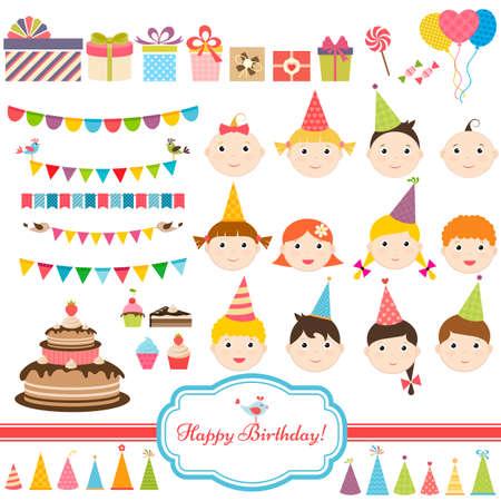 children party: Birthday party set with children