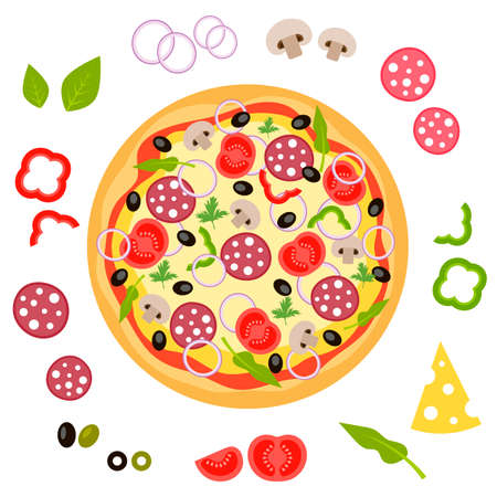 ready cooked: Pizza and ingredients for pizza