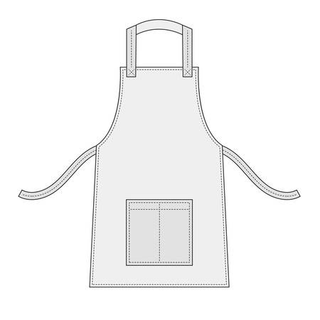 pocket: White apron with outsets and pocket Illustration