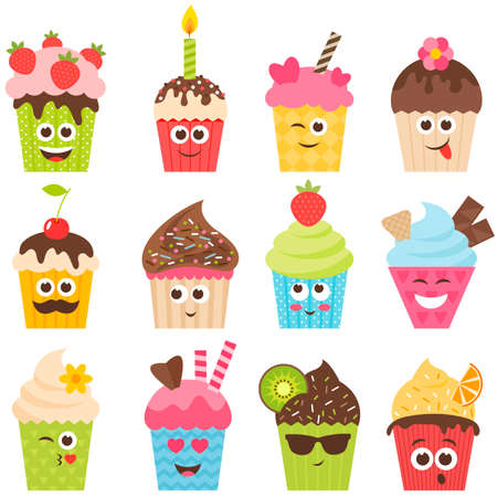 smileys: set of cupcake smileys