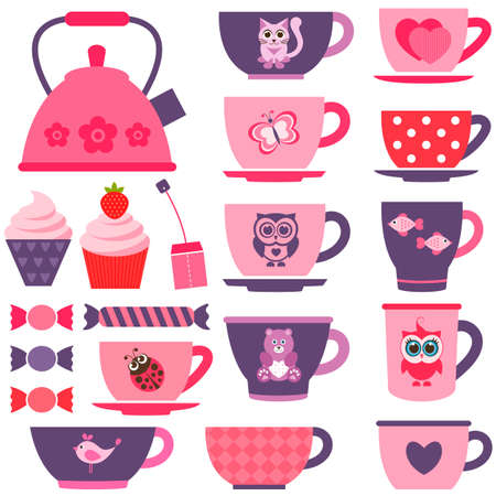 red tea: purple, pink and red tea cups Illustration