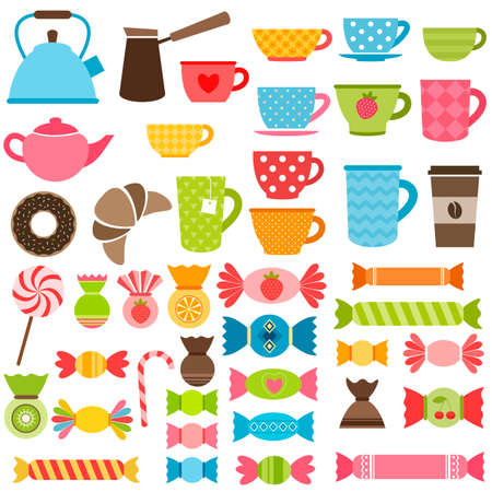 Set of sweets, tea and coffee cups