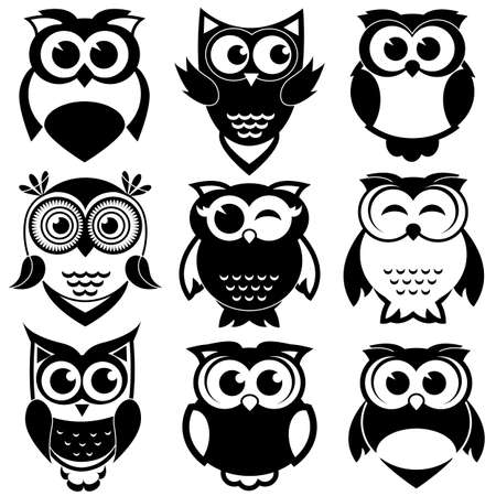 Cute black and white owls set Stock Illustratie