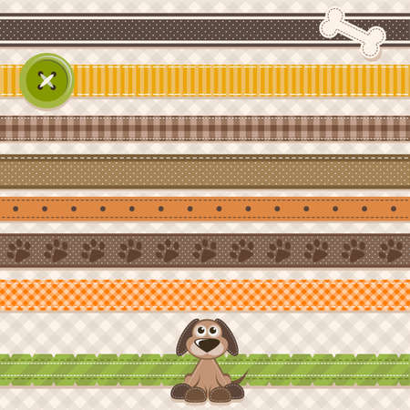 Collection of cute ribbons with cartoon dog