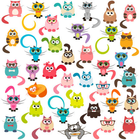 cat's eye glasses: set of cats and kittens