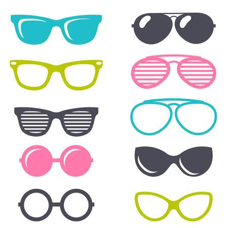 perforating: colorful cartoon retro sunglasses set Illustration