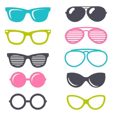 colorful cartoon retro sunglasses set Illustration