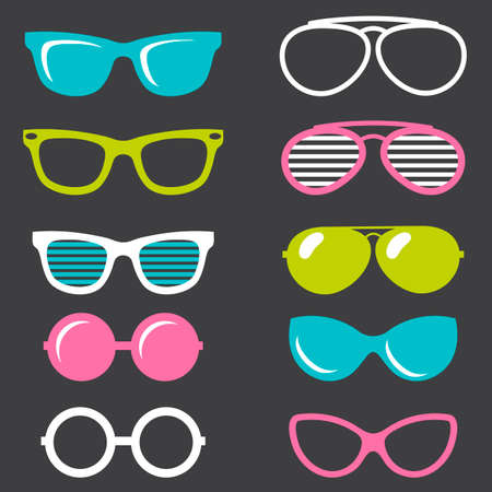 perforating: colorful retro sunglasses set