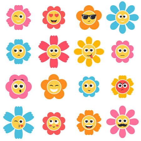 smiley: colorful flower smiley faces