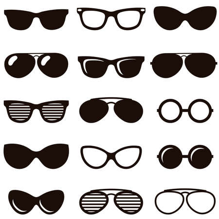 perforating: Set of black retro sunglasses icons Illustration