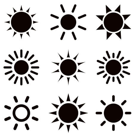 daytime: set of black sun icons
