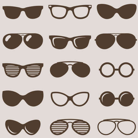 variety: Set of brown retro sunglasses icons Illustration