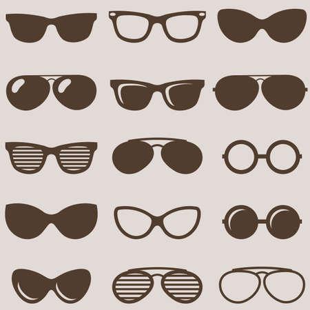 Set of brown retro sunglasses icons Illustration
