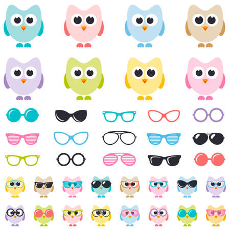 perforating: Set of colorful owls with sunglasses Illustration