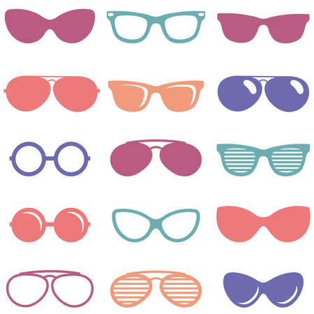 perforating: Set of colorful retro sunglasses icons