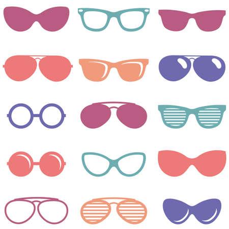 Set of colorful retro sunglasses icons