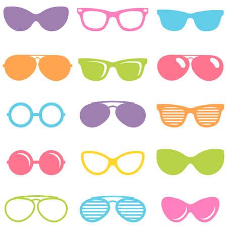 Set of colorful sunglasses icons Illustration