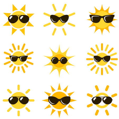 sun icons with black sunglasses Иллюстрация